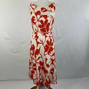 Adrianna Papell Linen Dress Red White Floral 4